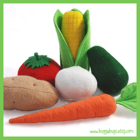 Bugga Bugs Vegetables Felt Play Food Pattern