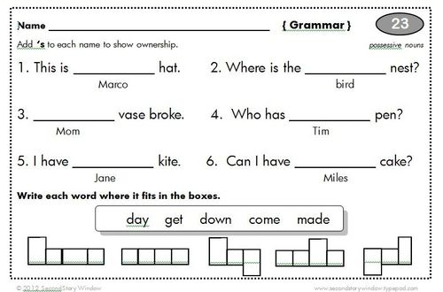 Second Story Window teachers pay teachers – Common Core Grammar Worksheets