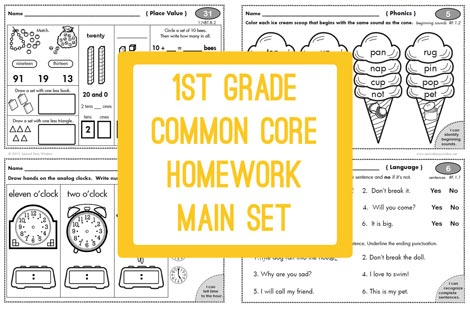 math worksheet : 1st grade common core homework 100 days  second story window : First Grade Math Common Core Worksheets